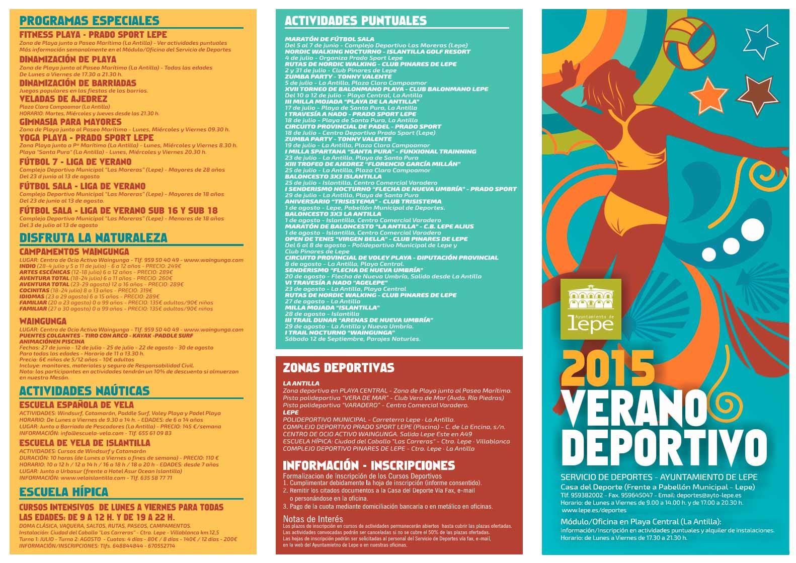 Programación deportiva verano 2015 Lepe-La Antilla