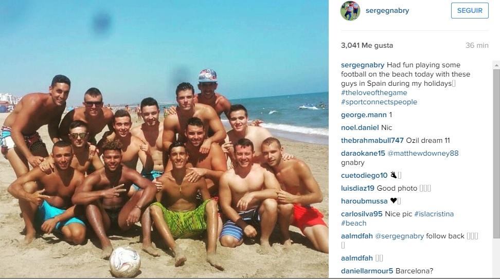 El jugador del Arsenal Serge Gnabry se encuentra pasando unos días de vacaciones en Isla Cristina