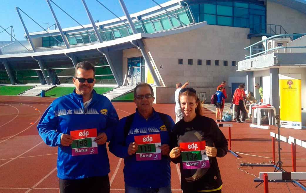 Siete Medallas de Oro para Elena Cobos, Toni Palma y Marcos Alonso en la I Reunión Internacional de Atletismo de Veteranos de aire libre Celebrada en Portugal.