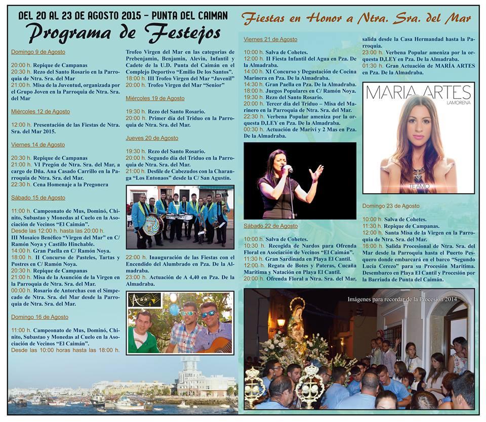 Programación de las Fiestas en Honor a Ntra. Sra. Del Mar de la Punta del Caimán