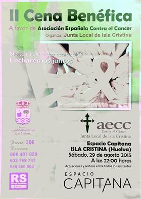 II Cena Benéfica en Isla Cristina a Favor de la Asociación Contra el Cáncer
