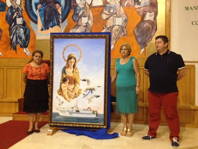 El pintor ayamontino Enrique Lopez Nieves, Enri, autor del cartel de las Fiestas de la Virgen del Mar de Punta del Caiman