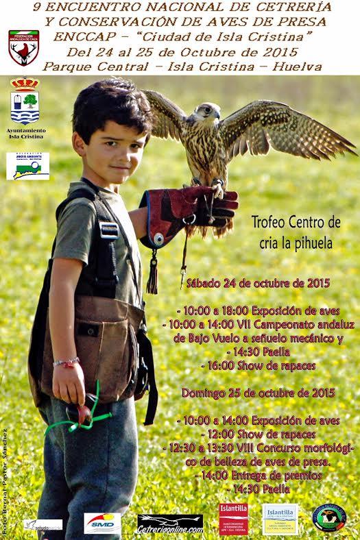 Programación del IX Encuentro Nacional de Cetrería y Conservación de las Aves de Presa Isla Cristina