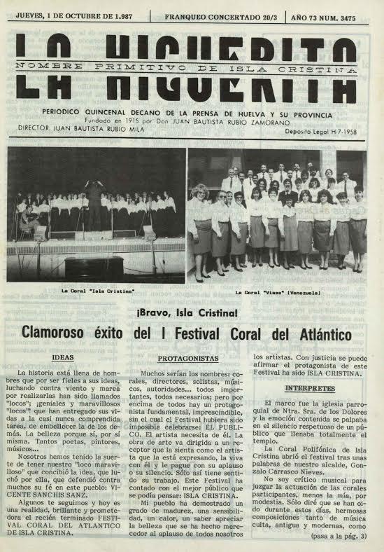 Portada del periódico local La Higuerita