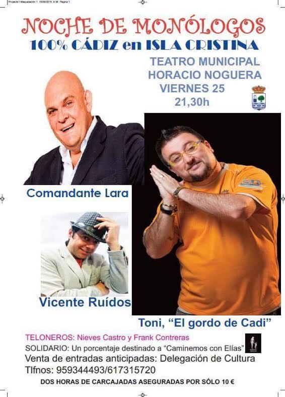 El Teatro Horacio Noguera acoge el espectáculo de monólogos '100 % Cádiz'