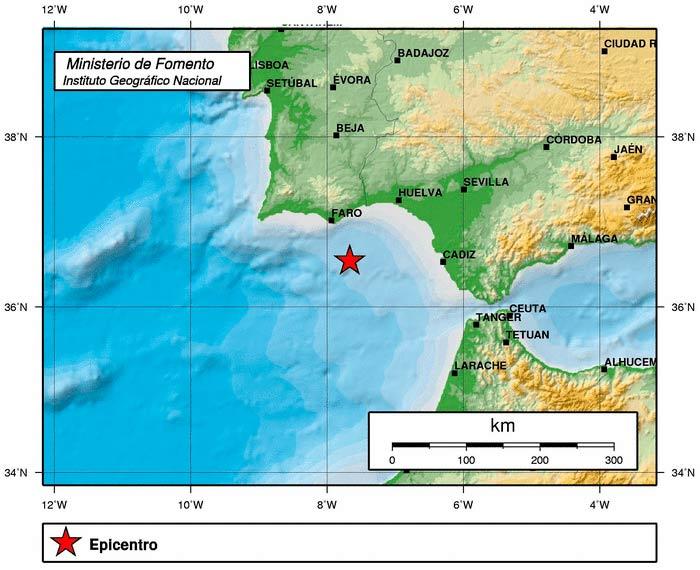 Terremoto de 4,1 grados frente a la costa de Huelva