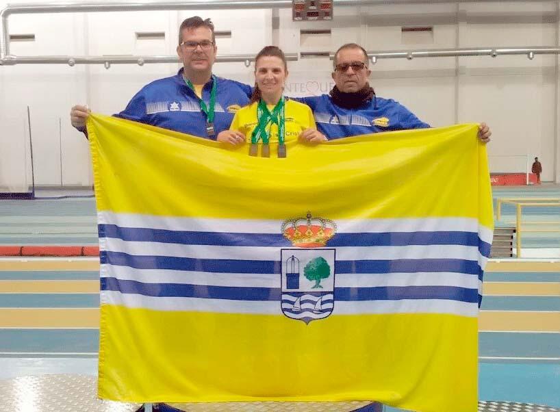 Elena Cobos, Marcos Alonso, Juan J. González, Antonio Librero y Antonio de la Palma, en el Campeonato de Andalucía Veteranos