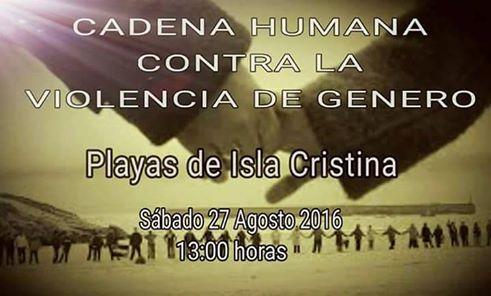 Cadena humana contra la violencia de genero en la Playa de Isla Cristina