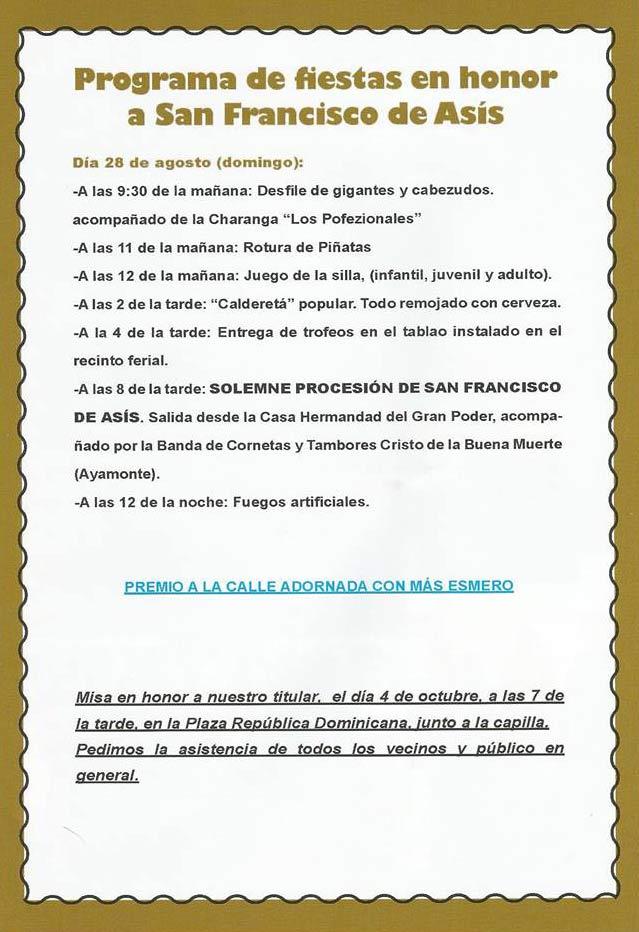 Programación de las Fiestas en Honor a San Francisco de Asís 2016 de Isla Cristina