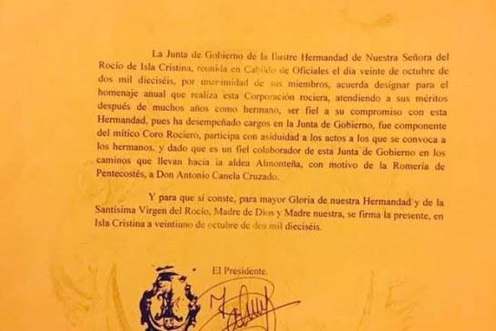 Antonio Canela será homenajeado por la Hermandad del Rocío de Isla Cristina