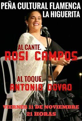 """Noche flamenca con Rosi Campos en la Peña Flamenca """"La Higuerita"""" de Isla Cristina"""