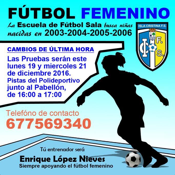 Ven a las pruebas de la Escuela de Fútbol Sala Femenino de Isla Cristina
