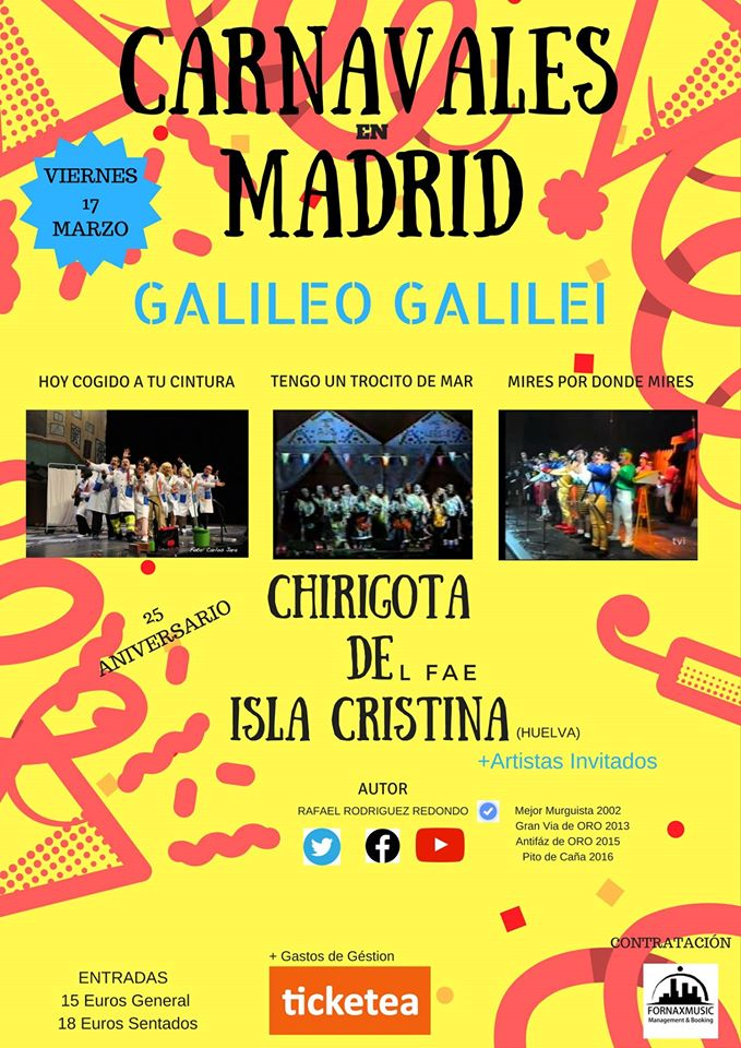 Carnaval de Isla Cristina en la Sala Galileo Galilei en Madrid