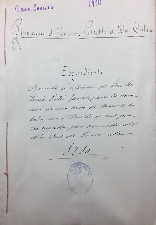 Expediente de 1910 para la creación de una Casa de Socorro en Isla Cristina