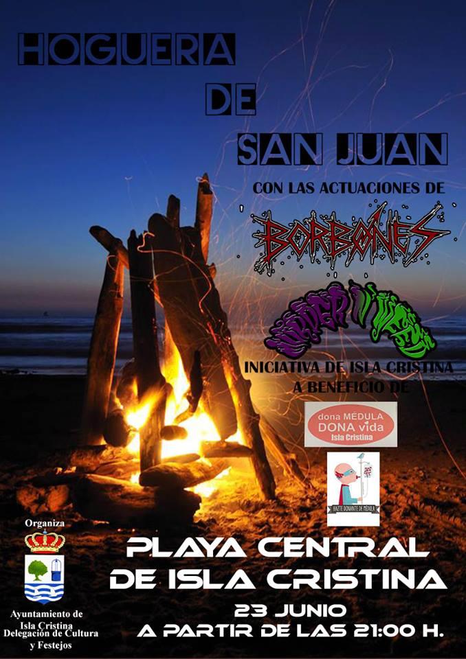 Hoguera de San Juan en la Playa Central de Isla Cristina