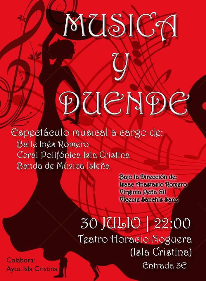 Música y Duende mañana domingo en el Horacio Noguera de Isla Cristina