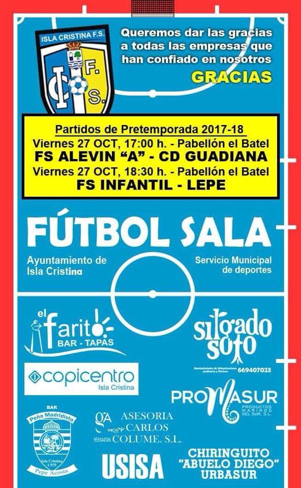 Este viernes partido de pretemporada de los infantiles y alevines del Isla Cristina F.S. en el Batel