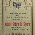 El Documento del Mes de Octubre rescata un programa de la Fiestas del la Virgen del Rosario de Isla Cristina de  1926