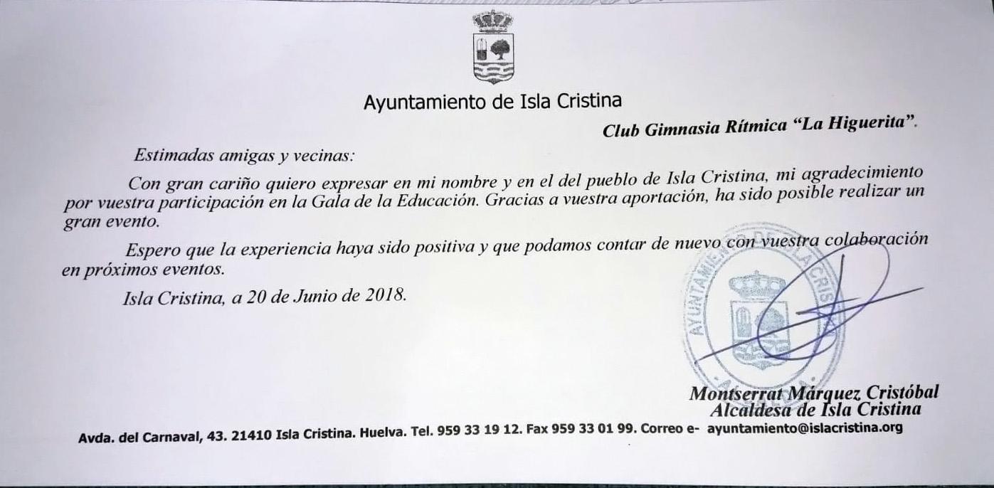 Agradecimiento del Ayuntamiento de Isla Cristina al club de gimnasia ritmica