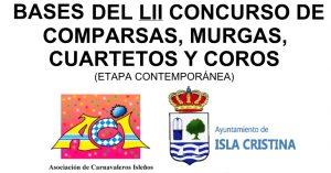 Bases del LII Concurso de Comparsas, murgas, Cuartetos y coros del Carnaval de Isla Cristina 2019