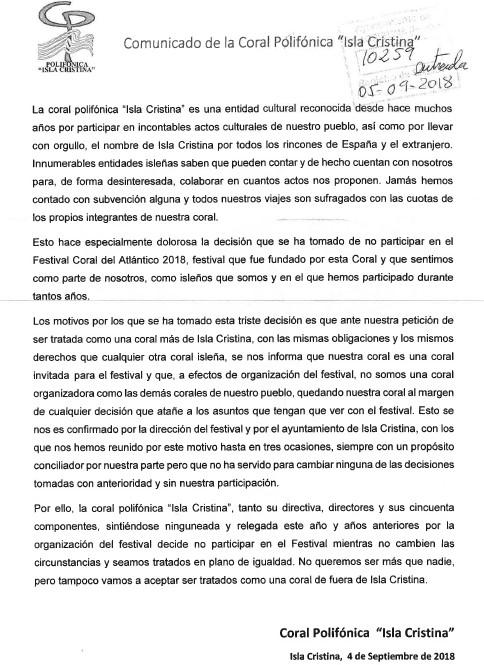Comunicado de prensa de la Coral Polifónica Isla Cristina