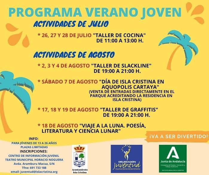 La Delegación de Juventud del Ayuntamiento de Isla Cristina inicia su extensa programación estival destinada al colectivo juvenil